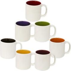 13650-6 Чашка Кофейная микс 100мл вариант от 1 до 7 цв. белая снаружи