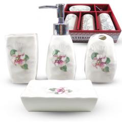 888-130 Набор аксессуаров для ванной комнаты 4 пр. Цветочный барельеф