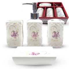 888-132 Набор аксессуаров для ванной комнаты 4 пр. Цветочный барельеф