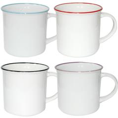 3579-8 Чашка Белая с ободком микс 480мл вариант от 1 до 4 цв.