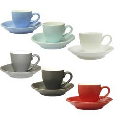13651 Чашка с блюдцем цветная вариант от 1 до 8 цв (чашка-70мл,блюдце-12см)