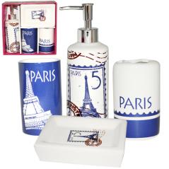 888-06-013 Набор 4 пр Париж (мыльница, подставка для зубных щеток, стакан, диспенсер для мыла)