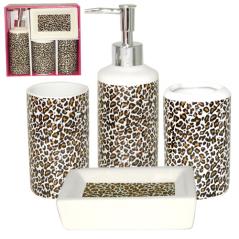 888-06-014 Набор 4 пр Леопард (мыльница, подставка для зубных щеток, стакан, диспенсер для мыла)