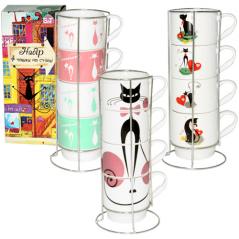 021-04-02 Набор 4 чашки в стойке Изящные коты 340мл