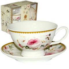 042-01-05 Набор чайный подарочный (чашка с блюдцем) Шарлотт (блюдце - 13,5см, чашка - 200мл)