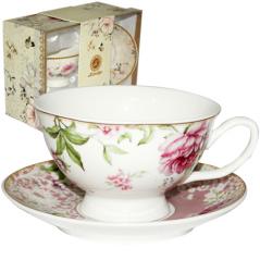 042-01-06 Набор чайный подарочный (чашка с блюдцем) Шенонсо (блюдце - 13,5см, чашка - 200мл)