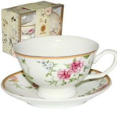 042-01-08 Набор чайный подарочный (чашка с блюдцем) Франжипан (блюдце - 13,5см, чашка - 200мл)