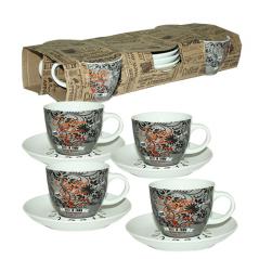 1465-12 Сервиз чайный 8пр. <a href='http://snt.od.ua/ru/poisk.html?q=Кофе' />Кофе</a> шоп (чашка - 220мл, блюдце - 14,5см)