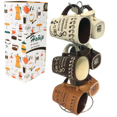 1467-4 Набор 6 чашек с ложкой на стойке Coffee story 400мл