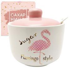 700-03-13 Сахарница с ложкой 520мл 'Фламинго'