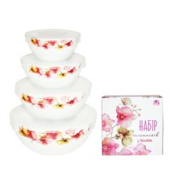 30054-006 Набор емкостей для хранения продуктов с крышкой 4шт (7', 6', 5', 4,2') Орхидея