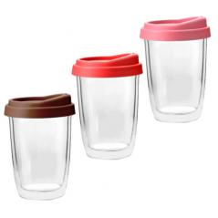 201-4 Чашка с двойной стенкой и силиконовой крышкой 350мл Take away