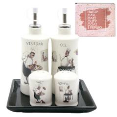 700-06-10 Набор 5 пр. (2 бутылки для масла/уксуса и набор для соли и перца на кер. подст.) 'Гурман'