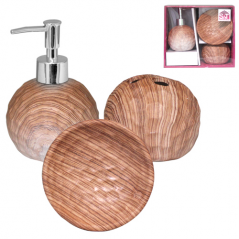 889-06-002 Набор 3пр Бук (мыльница, подставка для зубных щеток, диспенсер для мыла)