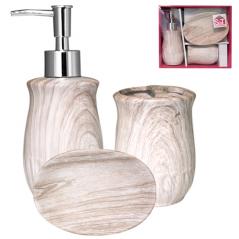 889-06-003 Набор 3пр Ольха (мыльница, подставка для зубных щеток, диспенсер для мыла)