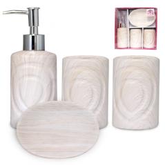 888-06-025 Набор 4 пр Дуб беленый (мыльница, подставка для зубных щеток, стакан, диспенсер для мыла)