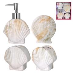 888-06-024 Набор 4 пр Ракушка (мыльница, подставка для зубных щеток, стакан, диспенсер для мыла)