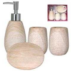 888-06-027 Набор 4 пр Белый Ясень (мыльница, подставка для зубных щеток, стакан, диспенсер для мыла)