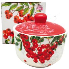 2242-14 Сахарница с ложкой 450мл 'Калина красная' (d-11см, h-7,5 см)