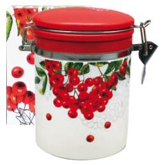 629-14 Емкость для сыпучих продуктов 0,75л 'Калина красная' (d-9,5см, h-11)