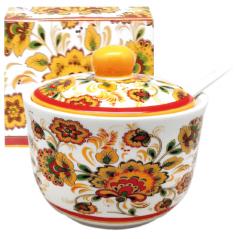 2242-16 Сахарница с ложкой 450мл 'Цветочная роспись' (d-11см, h-7,5 см)