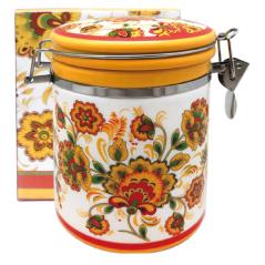 629-16 Емкость для сыпучих продуктов 0,75л 'Цветочная роспись' (d-9,5см, h-11)
