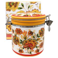 630-16 Емкость для сыпучих продуктов 0,5л  'Цветочная роспись' (h-10см, d-9,5см)