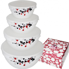 30054-1066 Набор емкостей для хранения продуктов с крышкой 4шт (7, 6, 5, 4.2) Красное и черное