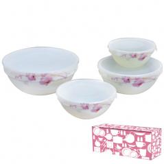 30054 Набор емкостей для хранения продуктов с крышкой 4шт (7,6,5,4.2) Розовая орхидея 61099
