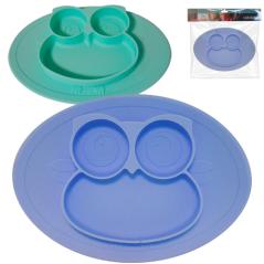 3200-45 Силиконовая детская тарелка Совушка 27*19,6*2см