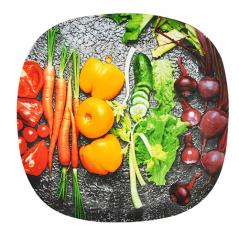 3715 Тарелка кв. с кр.краями 8' - 20см (Овощи)