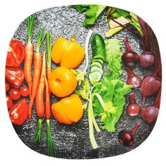 3716 Тарелка кв. с кр.краями 10' - 25см (Овощи)