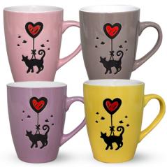 4160-38 Чашка Черный кот и сердце 350мл