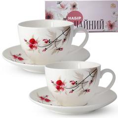 1753-6 Сервиз чайный 12пр. (чашка-280мл, блюдце-15см) Космея