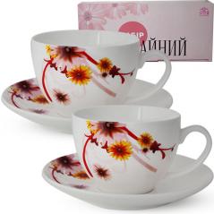 1753-8 Сервиз чайный 12пр.(чашка-280мл, блюдце-15см) Цветущая хризантема