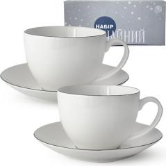 1753-4 Сервиз чайный 12пр. (чашка-280мл, блюдце-15см) Серебро