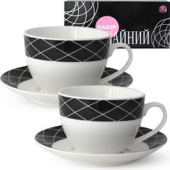 1753-9 Сервиз чайный 12пр. (чашка-280мл, блюдце-15см) Нуар