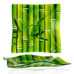3061-3 Тарелка квадр 8' - Волна 20см (Свежий бамбук)