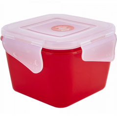 168052 красн.бархат-прозр Контейнер универсальный 'Фиеста' (квадратный) 0,9 л (красный бархат/прозрачный