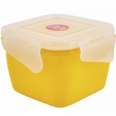 168052 т.желт-прозр Контейнер универсальный 'Фиеста' (квадратный) 0,9 л (темно-<a href='http://snt.od.ua/ru/poisk.html?q=желтый' />желтый</a>/прозрачный)