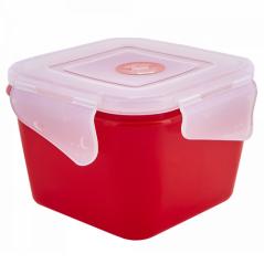 168059 красн.бархат-прозр Контейнер универсальный 'Фиеста' (квадратный) 0,45л (красный бархат/прозрачный)