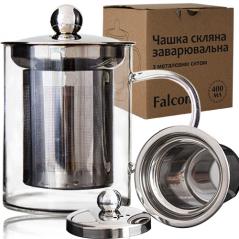 201-7 Чашка стеклянная заварочная с металлическим ситечком 420мл Falcon