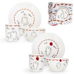 1591-11 Набор для завтрака 3пр. Cat story (тарелка - 20см, чашка - 360мл, пиала- 500мл)
