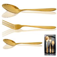 30502-44 Набор столовых приборов 18шт (6 вилок, 6 ложек, 6 десертных ложек) Golden Family-4