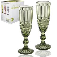9455 Набор бокалов для шампанского 6шт <a href='http://snt.od.ua/ru/poisk.html?q=Винтаж' />Винтаж</a> 180мл изумруд