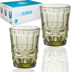 9453 Набор стаканов 6шт. <a href='http://snt.od.ua/ru/poisk.html?q=Винтаж' />Винтаж</a> 280мл изумруд