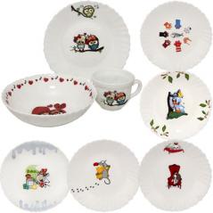 30069 Набор детский Веселые пушистики (чашка-210мл, миска-620мл, тарелка -19см) (12)