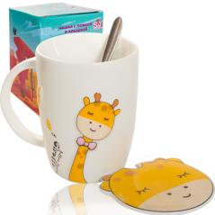 20619 Чашка с крышкой и ложкой 400мл Giraffe