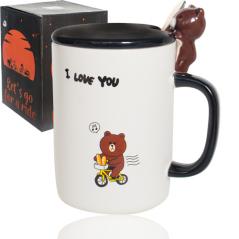 20620 Чашка с крышкой и ложкой 360мл Happy Bear