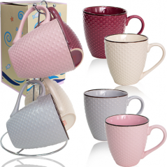021-04-10 Набор 4 чашки на стойке Dots 350мл